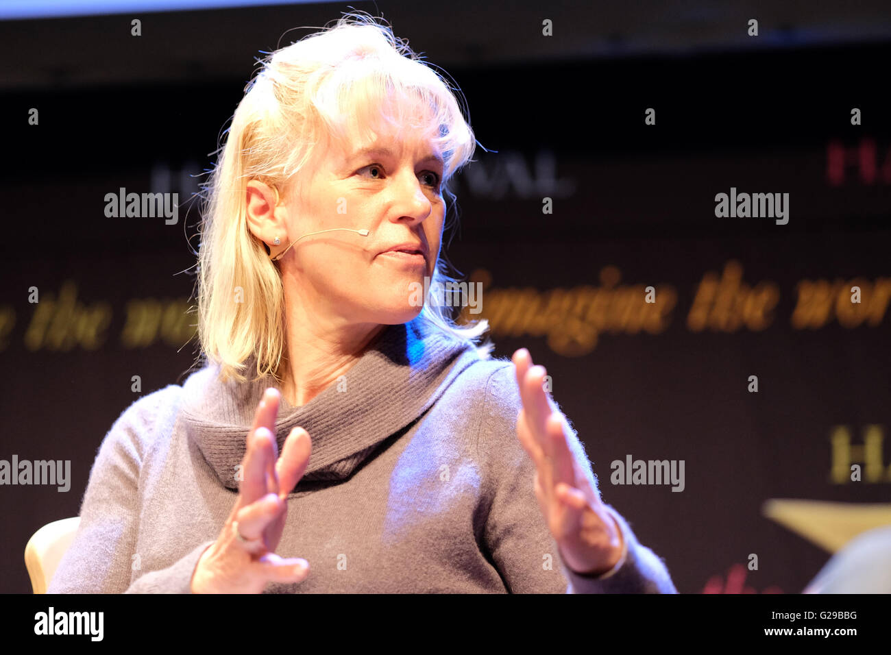 Hay Festival, Hay on Wye, Wales, UK May 2016. Minette Batters Deputy President of the NFU discusses the perceptions - Stock Image