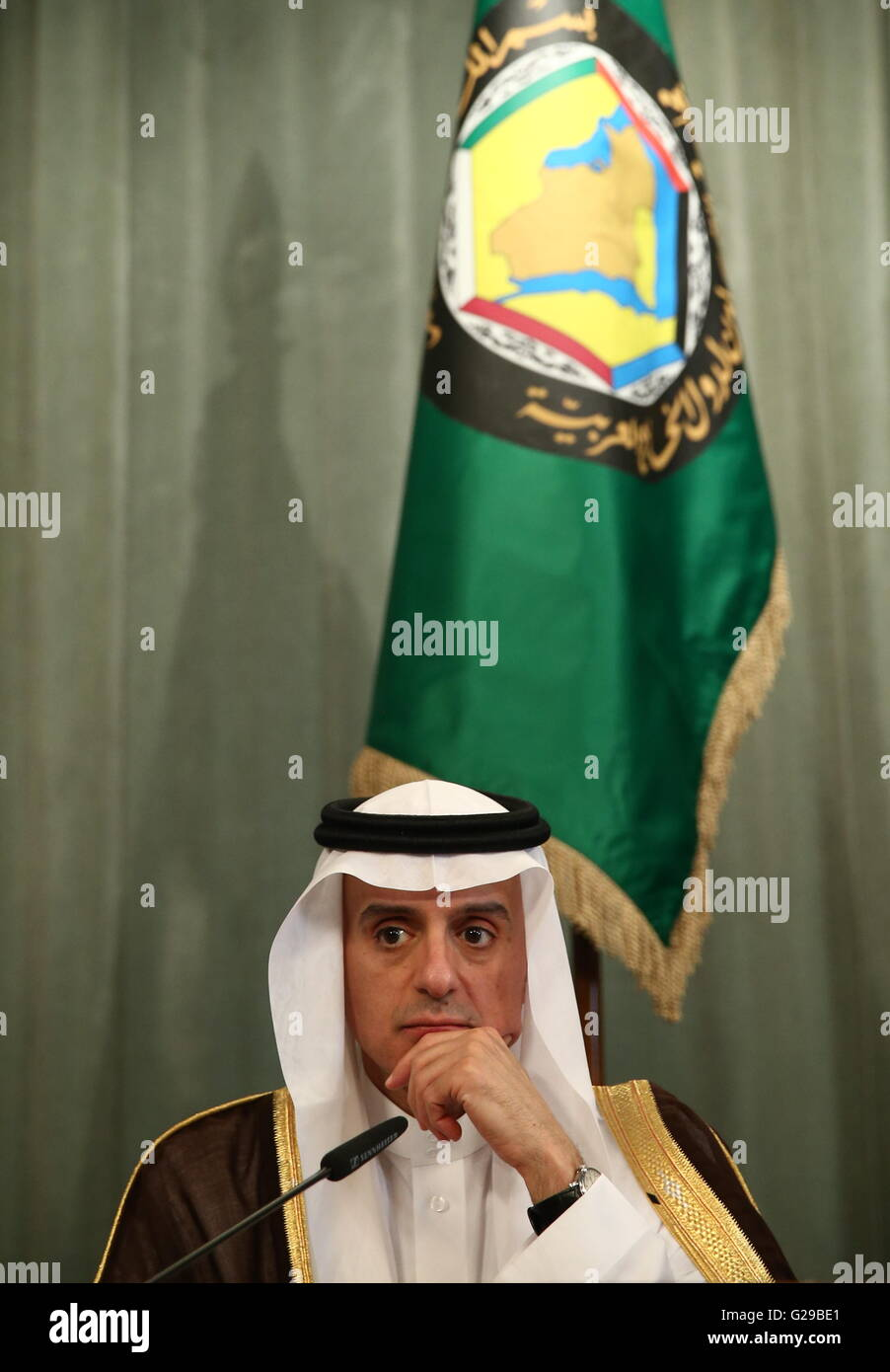 Moscow, Russia. 26th May, 2016. Saudi Arabia's Foreign Minister Adel bin Ahmed Al-Jubeir looks on during a press - Stock Image