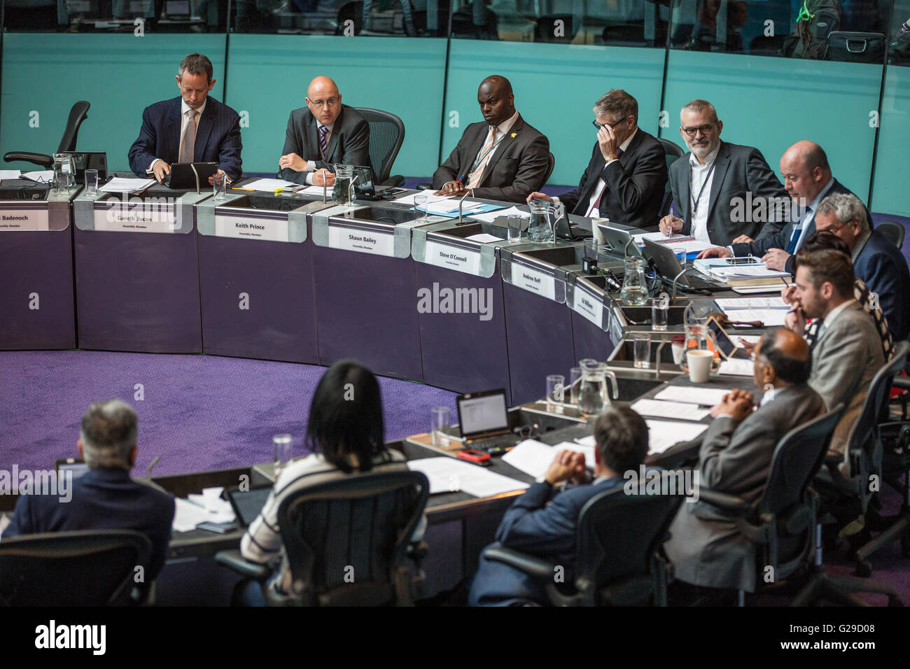 London, UK. 25th May, 2016. London Assembly Members attend the first Mayor's Question Time of Sadiq Khan's Mayoralty - Stock Image