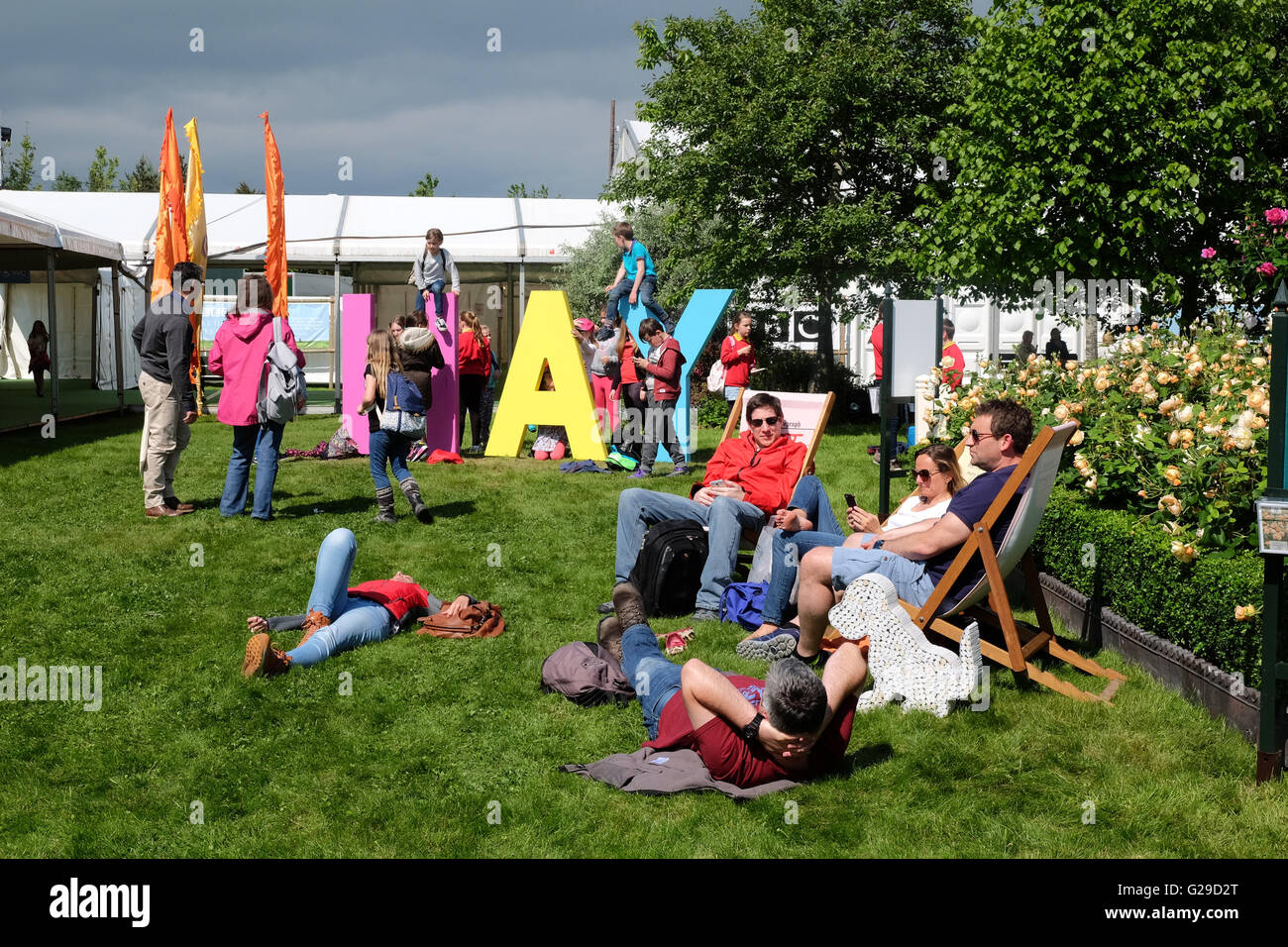 Hay Festival, Hay on Wye, Wales, UK. 26th May, 2016. Opening day for this years literary and arts festival which - Stock Image