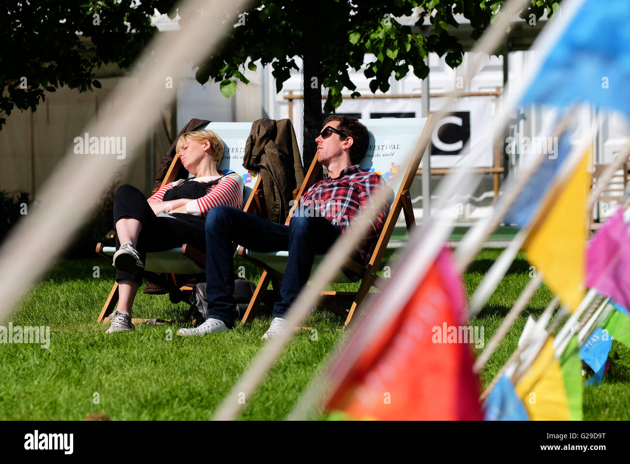 Hay Festival, Hay on Wye, Wales, UK May 2016. Opening day for this years literary and arts festival which runs until - Stock Image