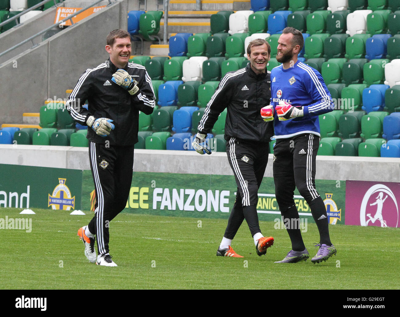National Football Stadium, Belfast, United Kingdom. 25th May 2016. Northern Ireland goalkeepers (l-r) Michael McGovern, - Stock Image