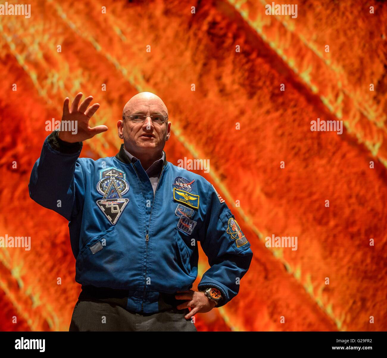 Former NASA astronaut Scott Kelly speaks during an event at the United States Capitol Visitor Center May 25, 2016 Stock Photo