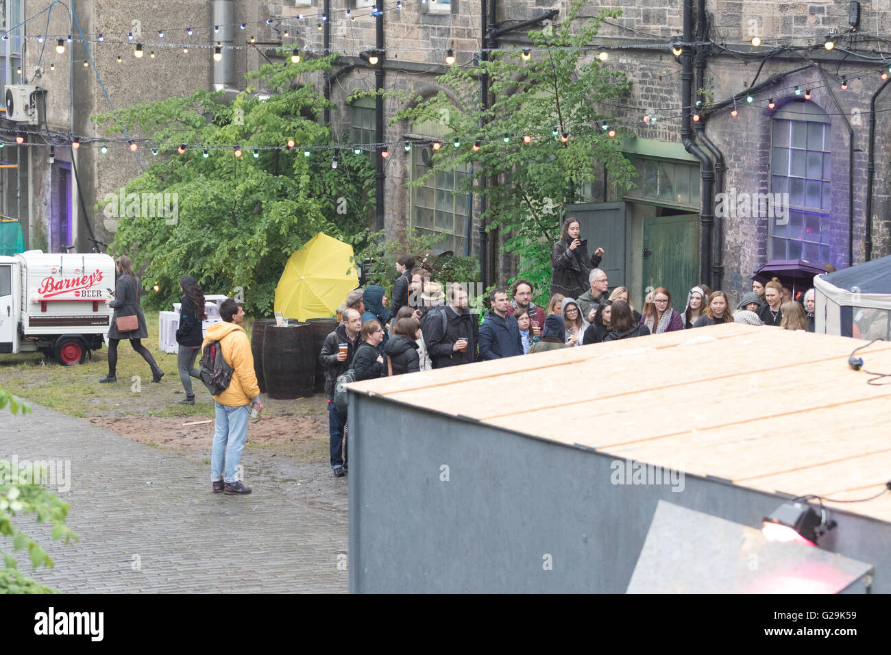 Edinburgh, Scotland. 26th May, 2016. Preview Night organisers talking/giving a tour at Hidden Door 26th May 2016 - Stock Image