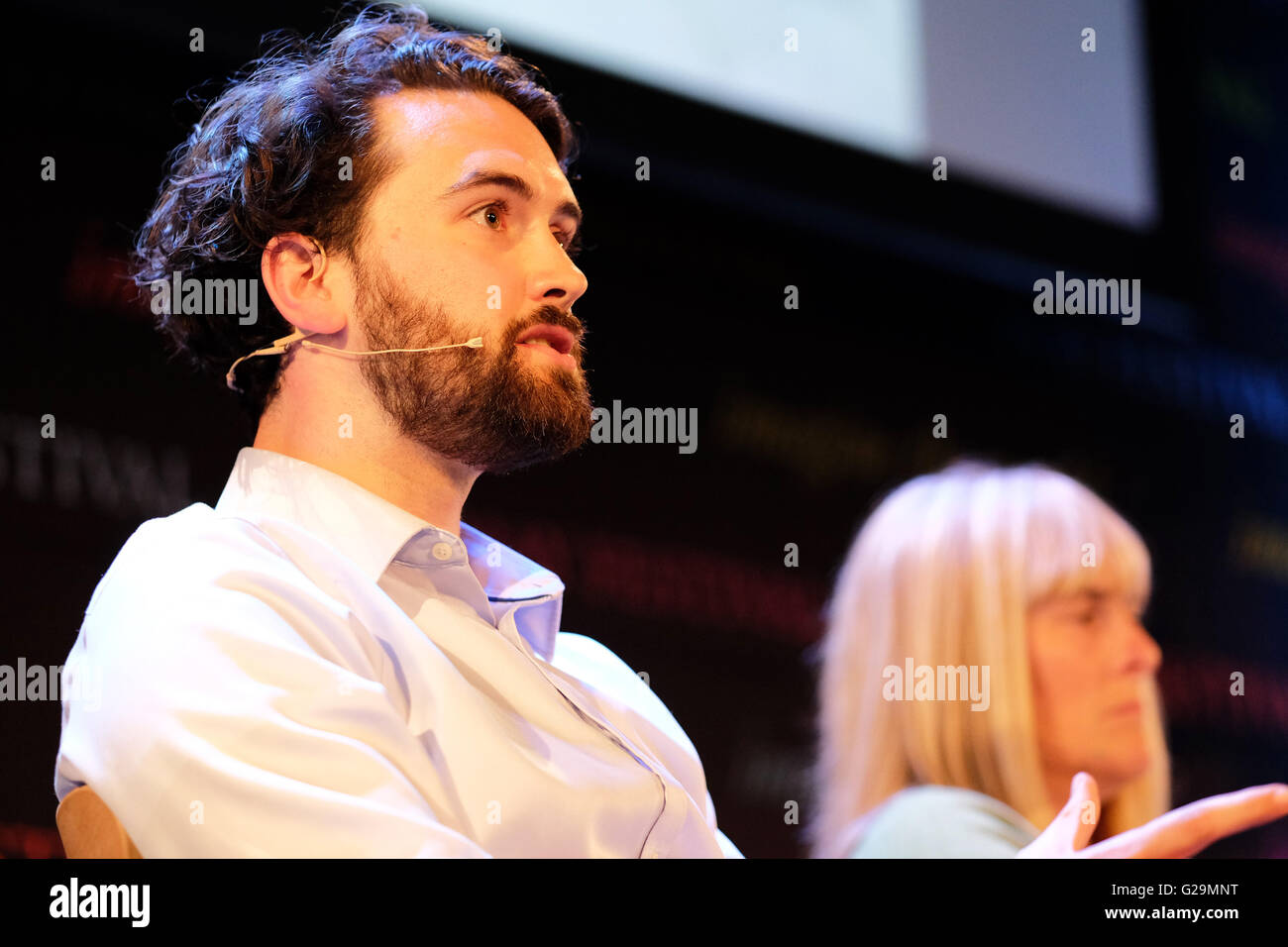 Hay Festival, Hay on Wye, Wales, UK May, 2016. Warren Fauvel co-founder of Nudjed talking about adventures in health - Stock Image
