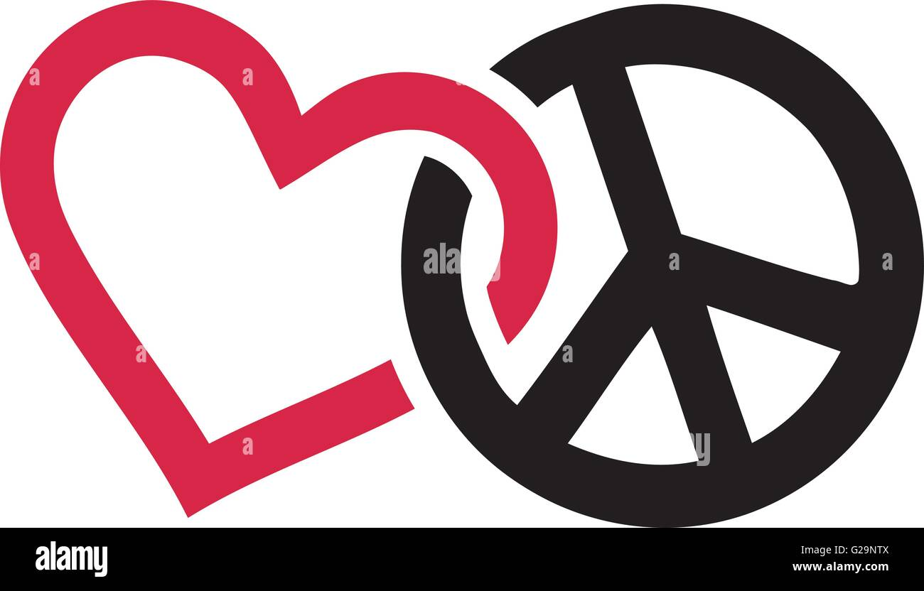Love And Peace Signs Intertwined Stock Vector Art Illustration