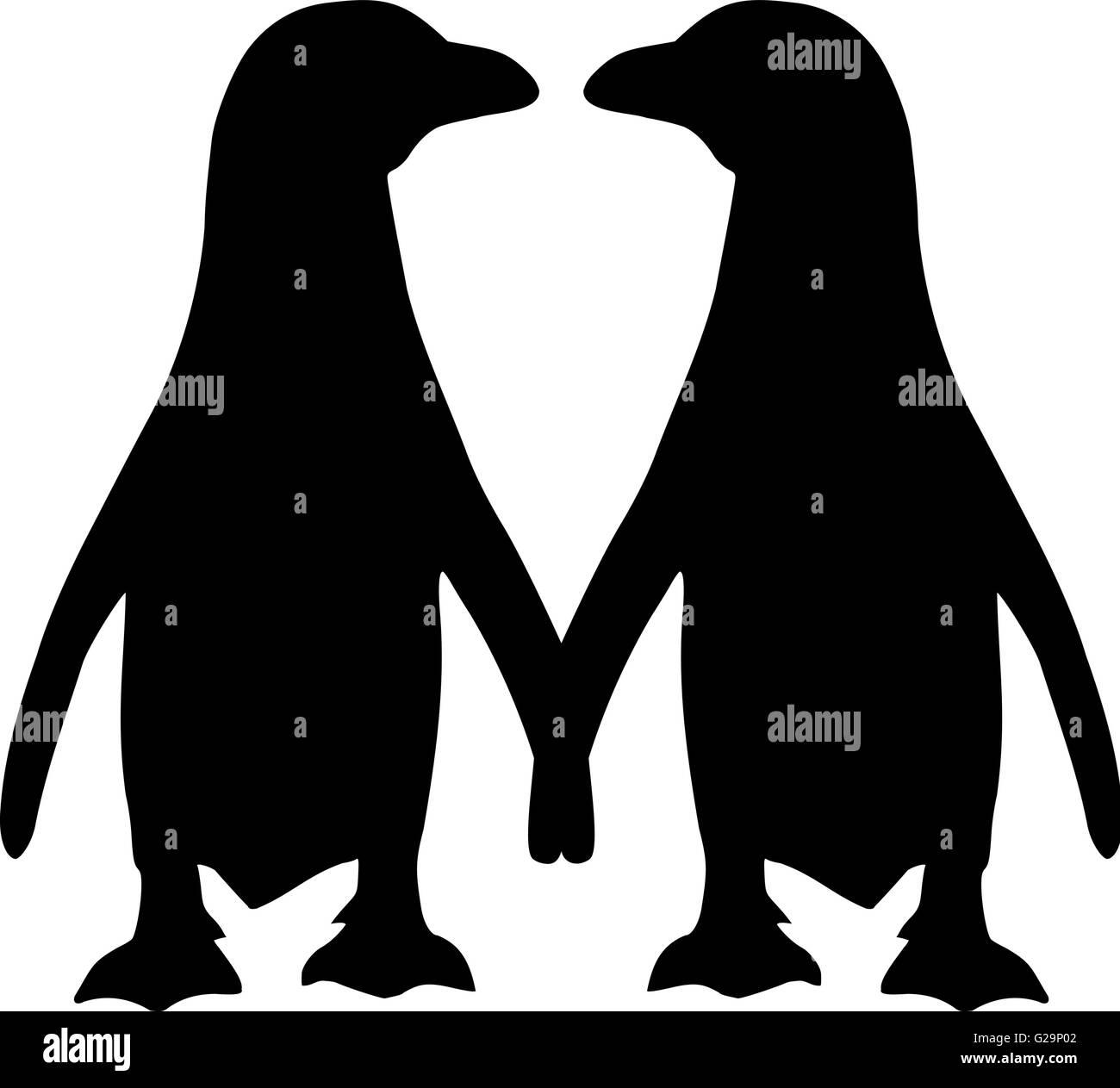 penguin couple silhouette stock vector art & illustration, vector