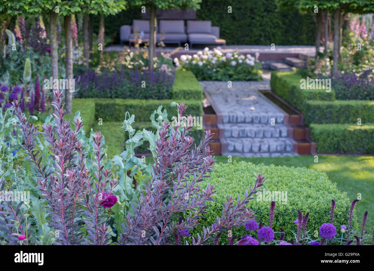 2016 RHS Chelsea Flower Show, Support, The Husqvarna Garden, Designer Charlie Albone - Stock Image