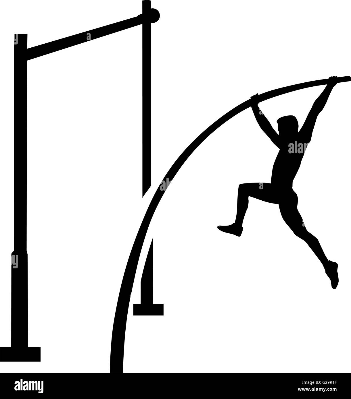 Pole vault athlete - Stock Vector