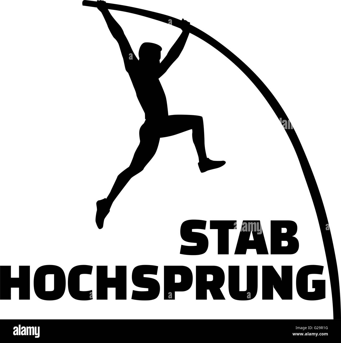 Pole vault silhouette with german word - Stock Vector