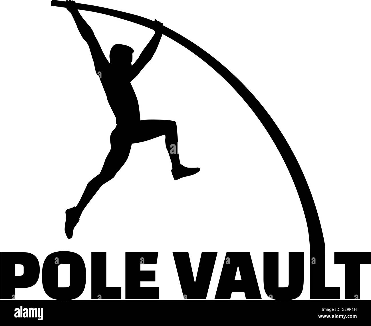 Pole vaulter with flexible pole - Stock Vector