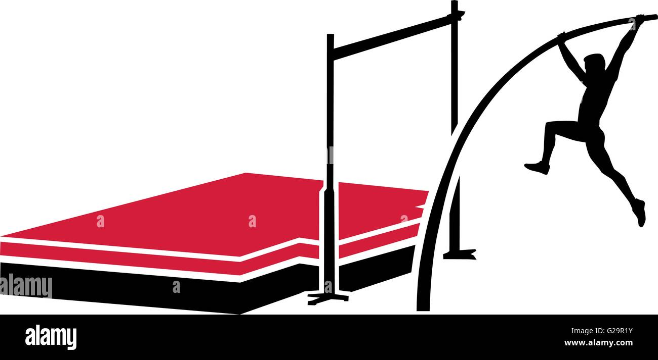 Athlete at the pole vault system - Stock Vector