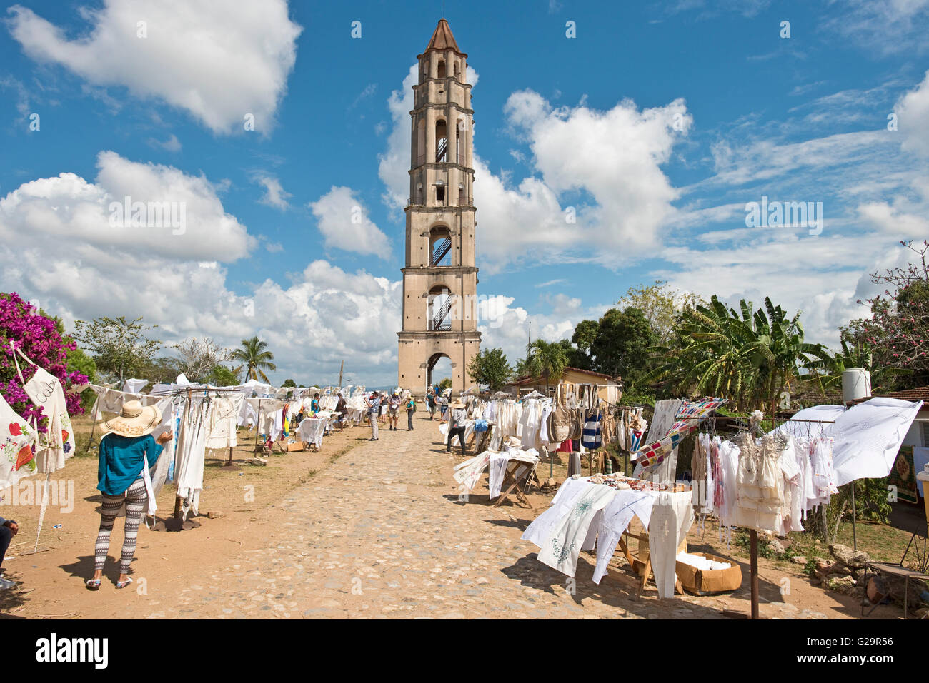 The tower at the Manaca Iznaga sugar cane plantation estate in the Valle de los Ingenios (Valley of the Sugar Mills), - Stock Image