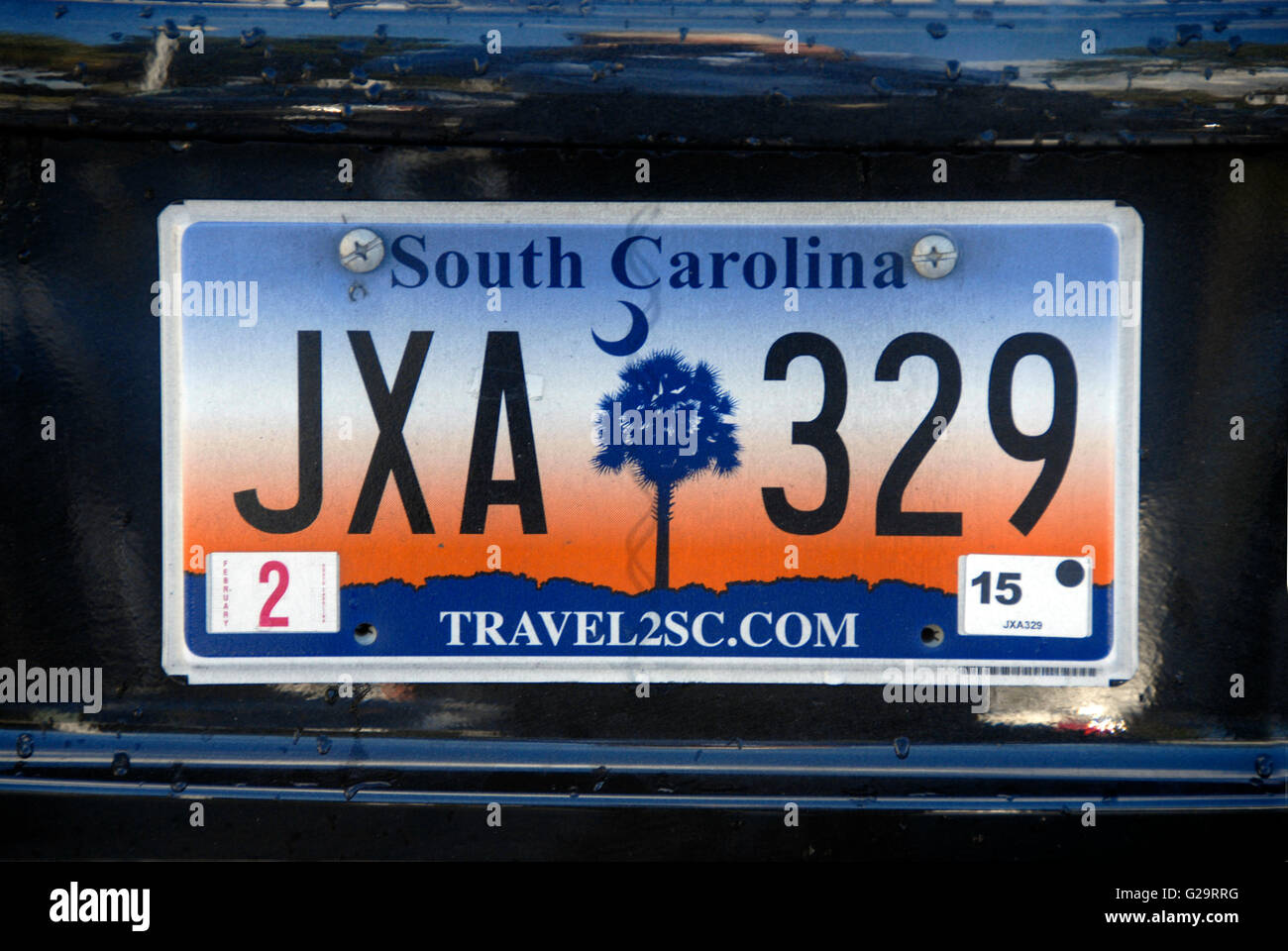 Car number plate, South Carolina, USA - Stock Image