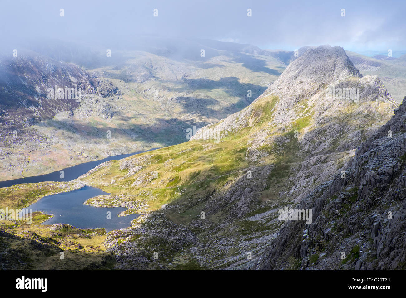 Tryfan mountain in Snowdonia,North Wales - a popular mountain for scrambling and climbing - Stock Image