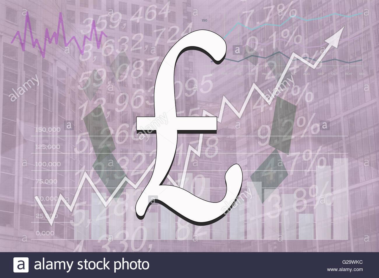 Finance Concept English Pound Symbol Purple Background Tint Stock