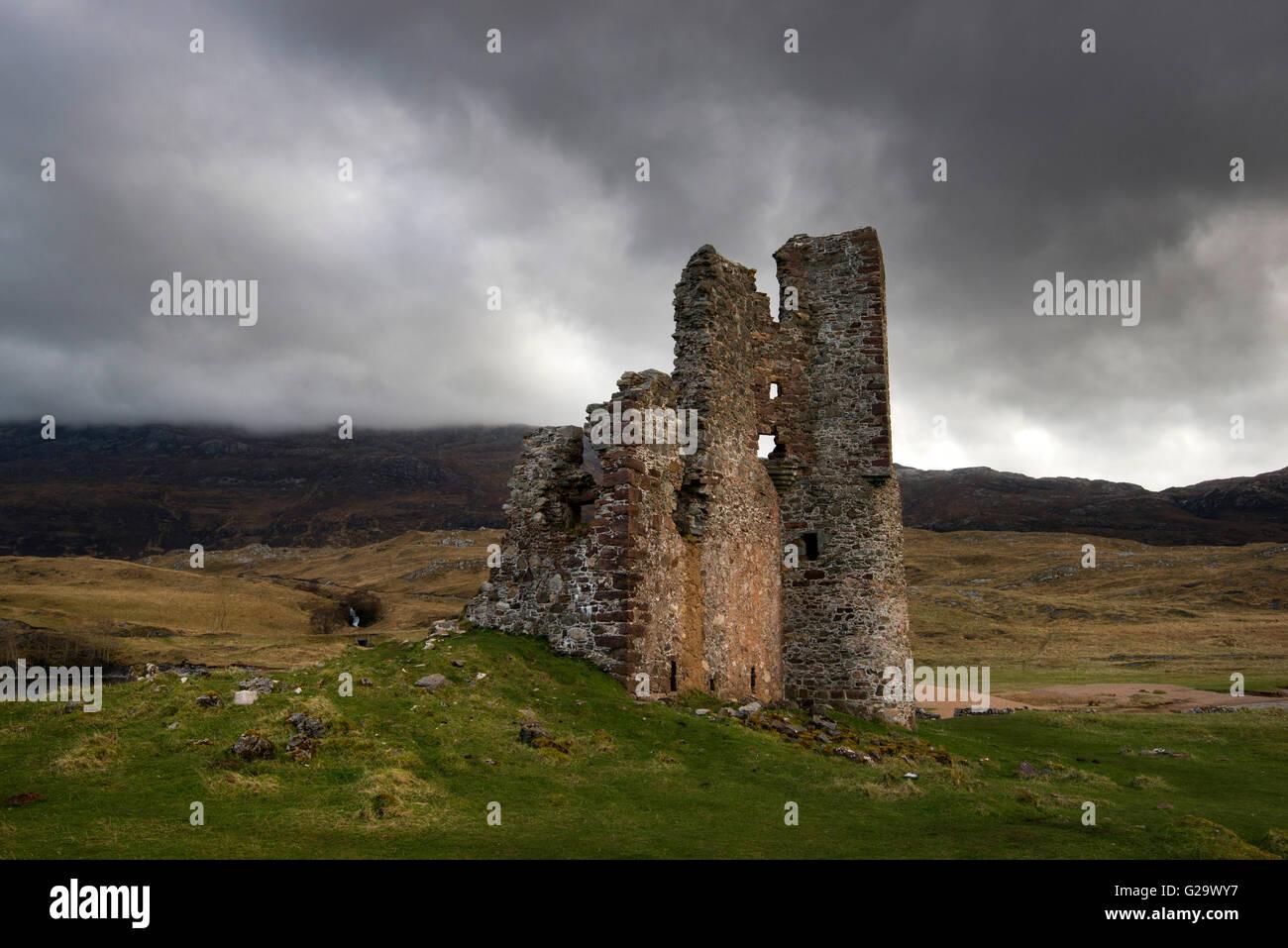 Moody morning light at Ardvreck Castle, on Loch Assynt in Suthlerland Scotland UK - Stock Image