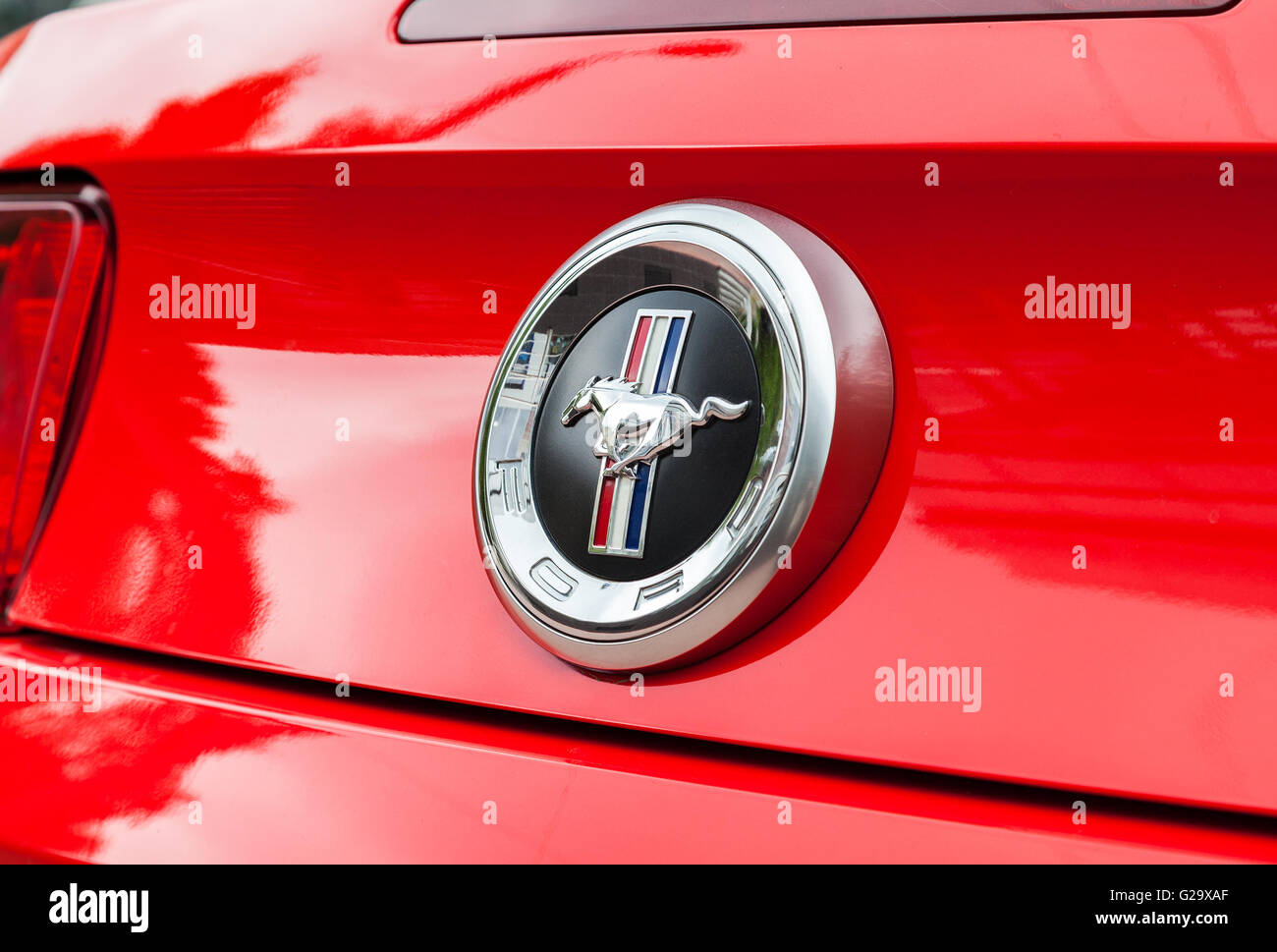 Ford Mustang Sign Close Up. The Ford Mustang is an American automobile manufactured by Ford Stock Photo