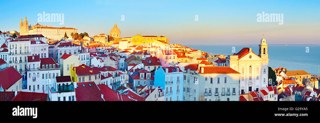 Famous Alfama district - Old Town of Lisbon. Portugal - Stock Image