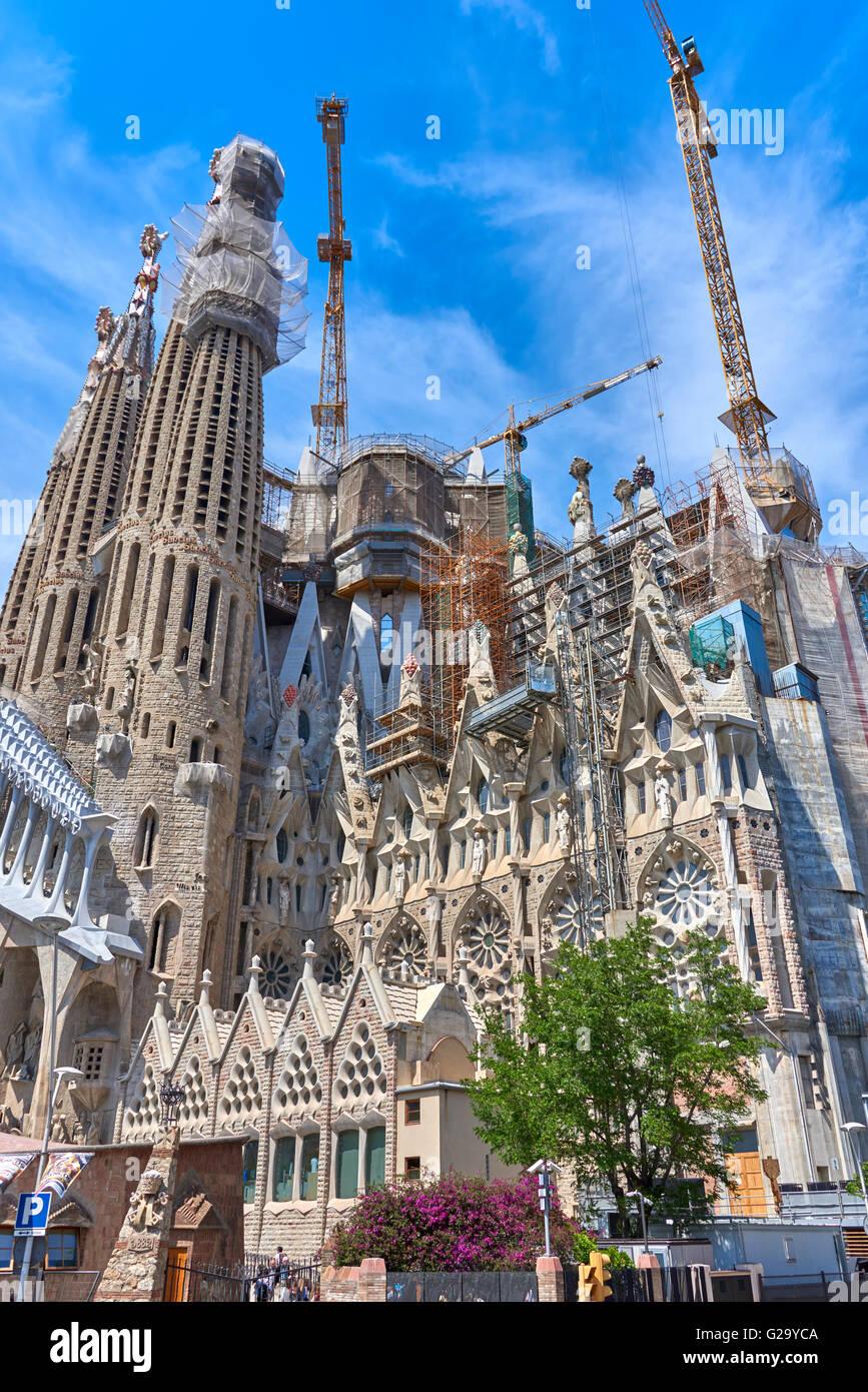Sagrada Família, a large Roman Catholic church in Barcelona, designed by Spanish architect Antoni Gaudí - Stock Image