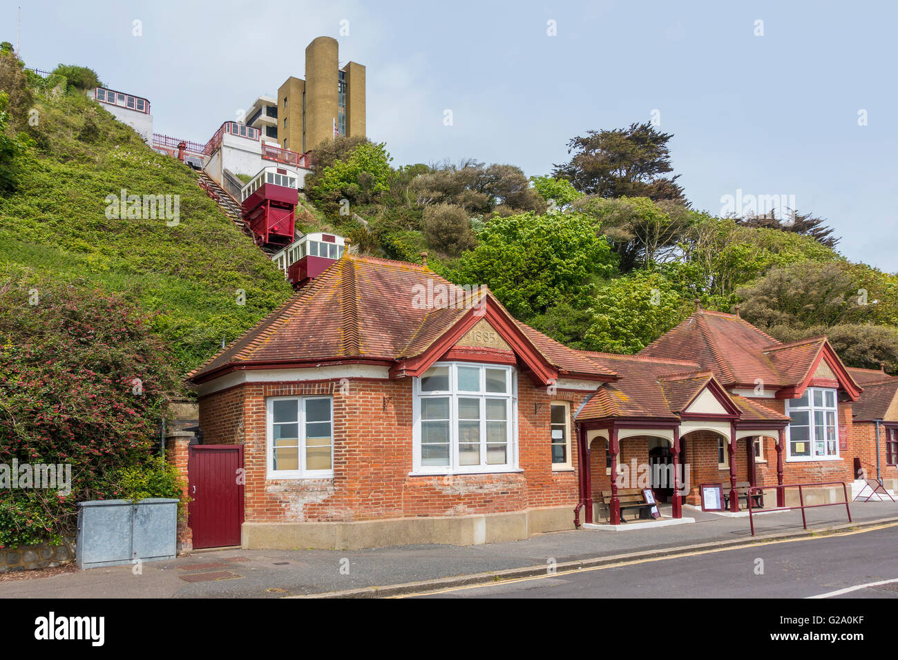 Leas Lift is a Water and Gravity Powered  Funicular Railway Folkestone Kent - Stock Image