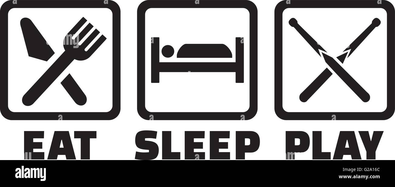 Snooker - Eat sleep play icons - Stock Vector