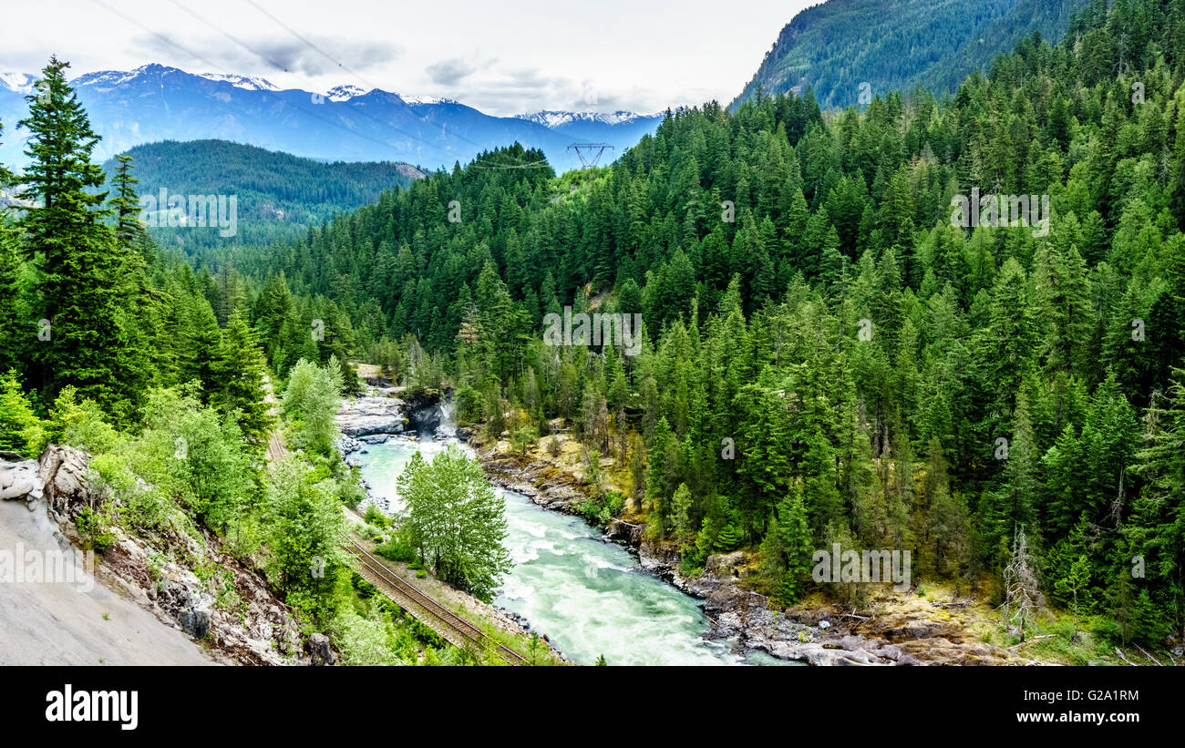 The Lillooet River and surrounding mountains just before Nairn Falls near the town of Pemberton in British Columbia, - Stock Image