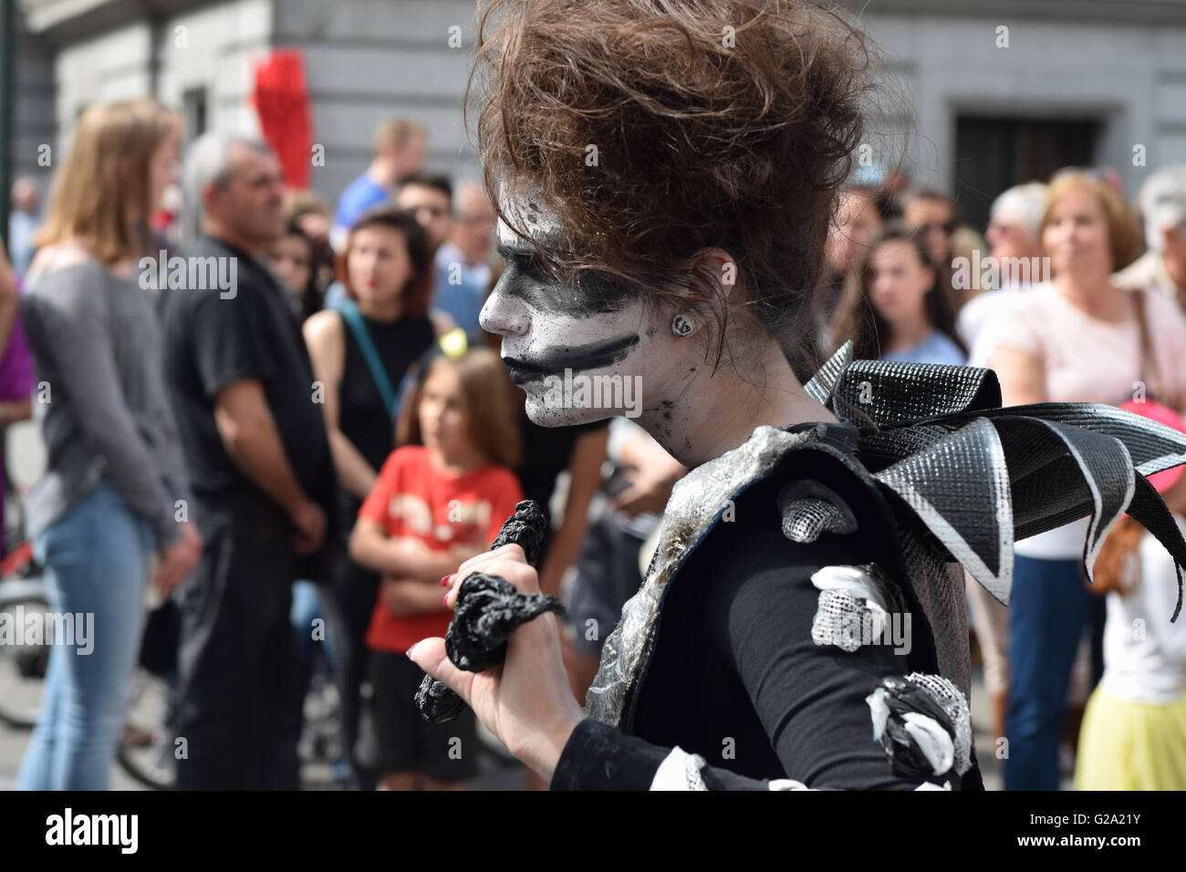 BRUSSELS, BELGIUM - MAY 21, 2016: Unidentified participant in her mystic outfit at the biennial Zinneke Parade 2016. - Stock Image