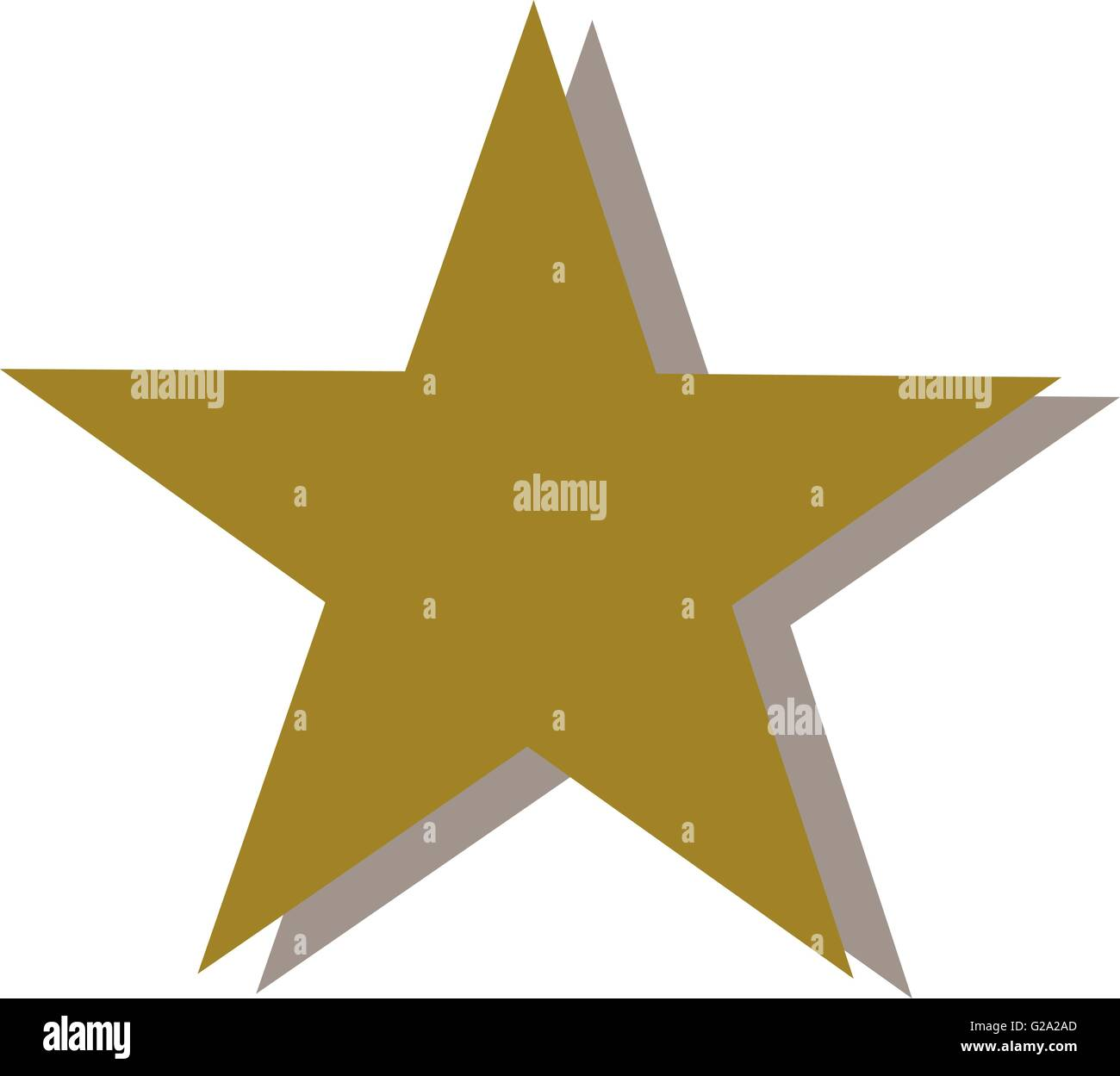 Golden star with shaddow - Stock Image