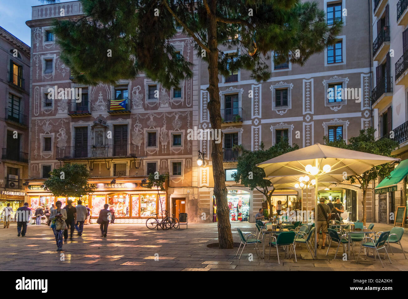 Barri Gotic, Square, architecture with ornaments, Street cafe, Barcelona Stock Photo