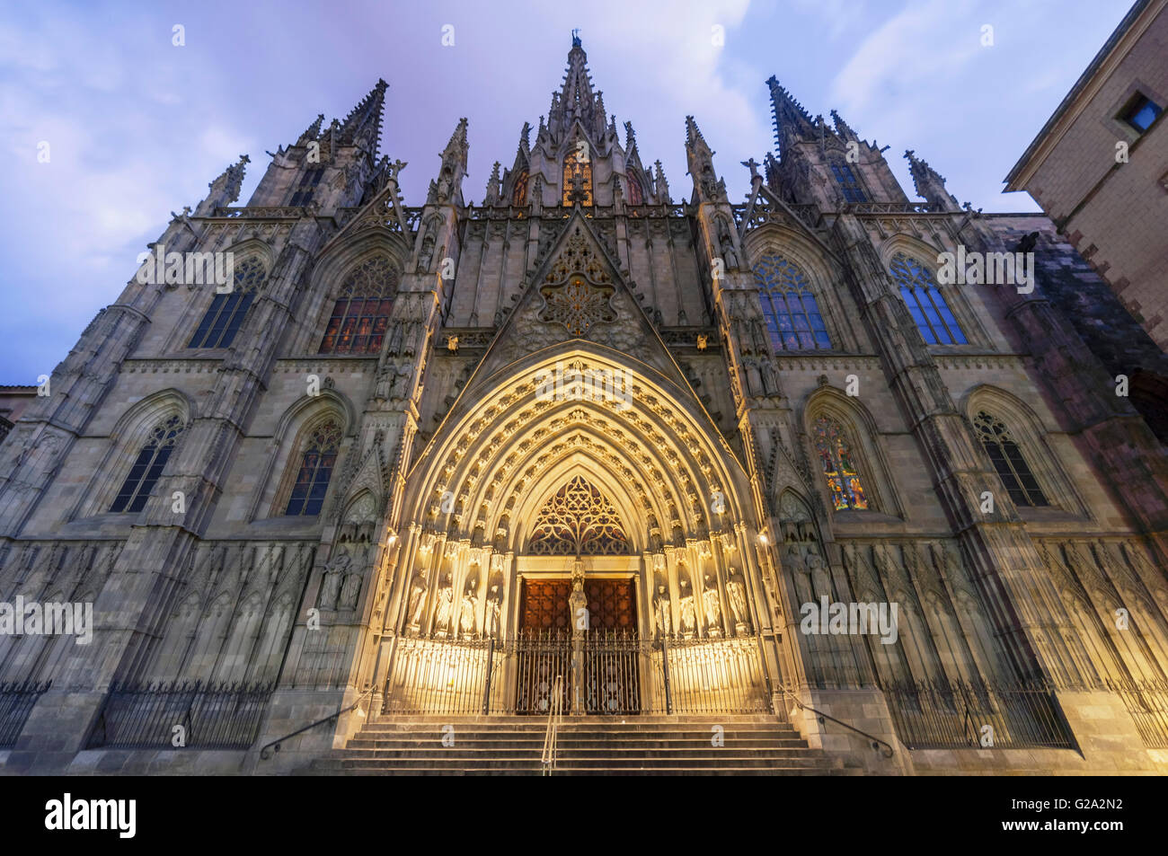 The Gothic cathedral in Barri Gotic, Barcelona, Spain - Stock Image