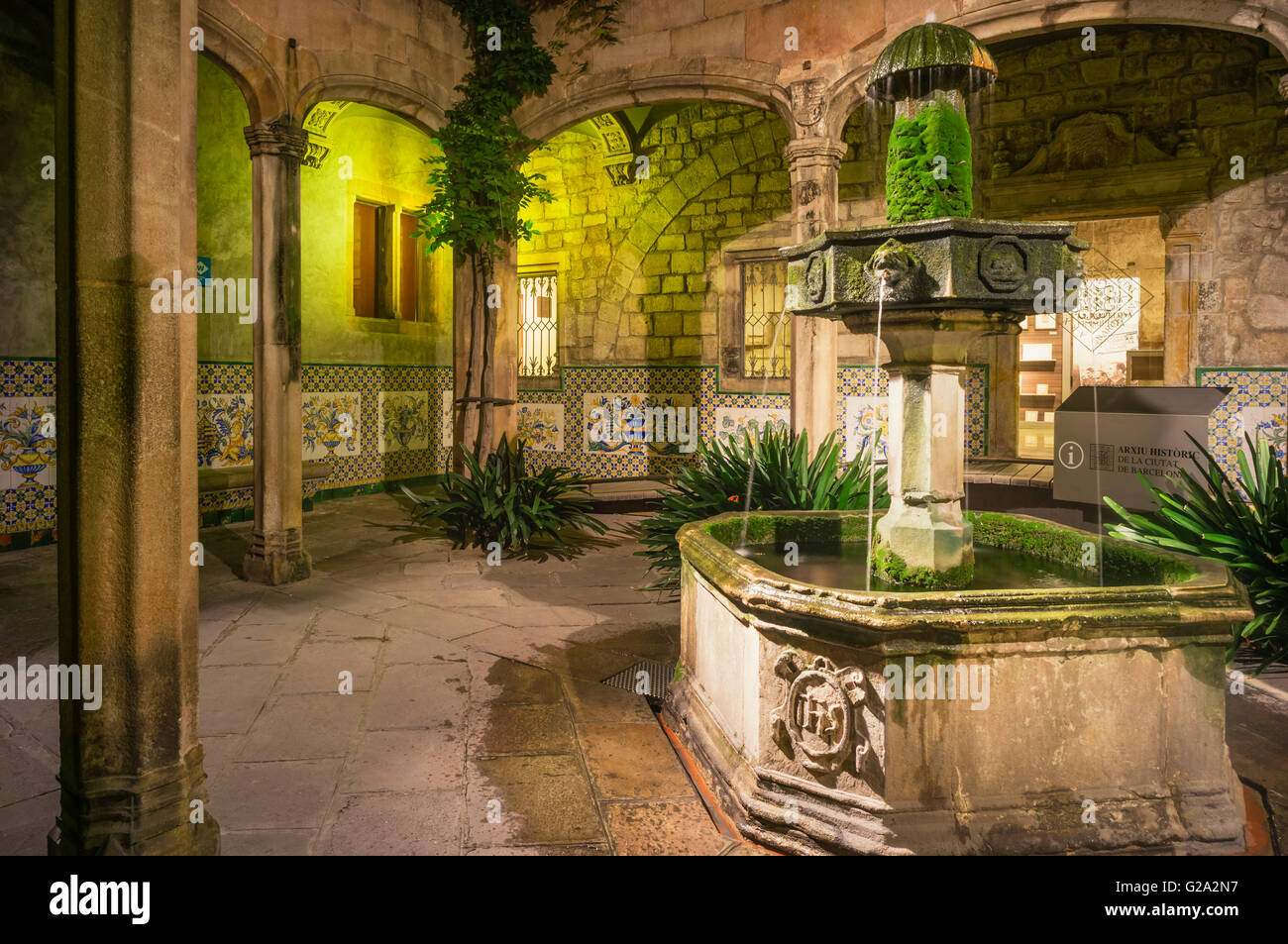 Arxiu Històric de la Ciutat de Barcelona, Historical Archive of the City of Barcelona, Courtyard of the Archdeacon's - Stock Image