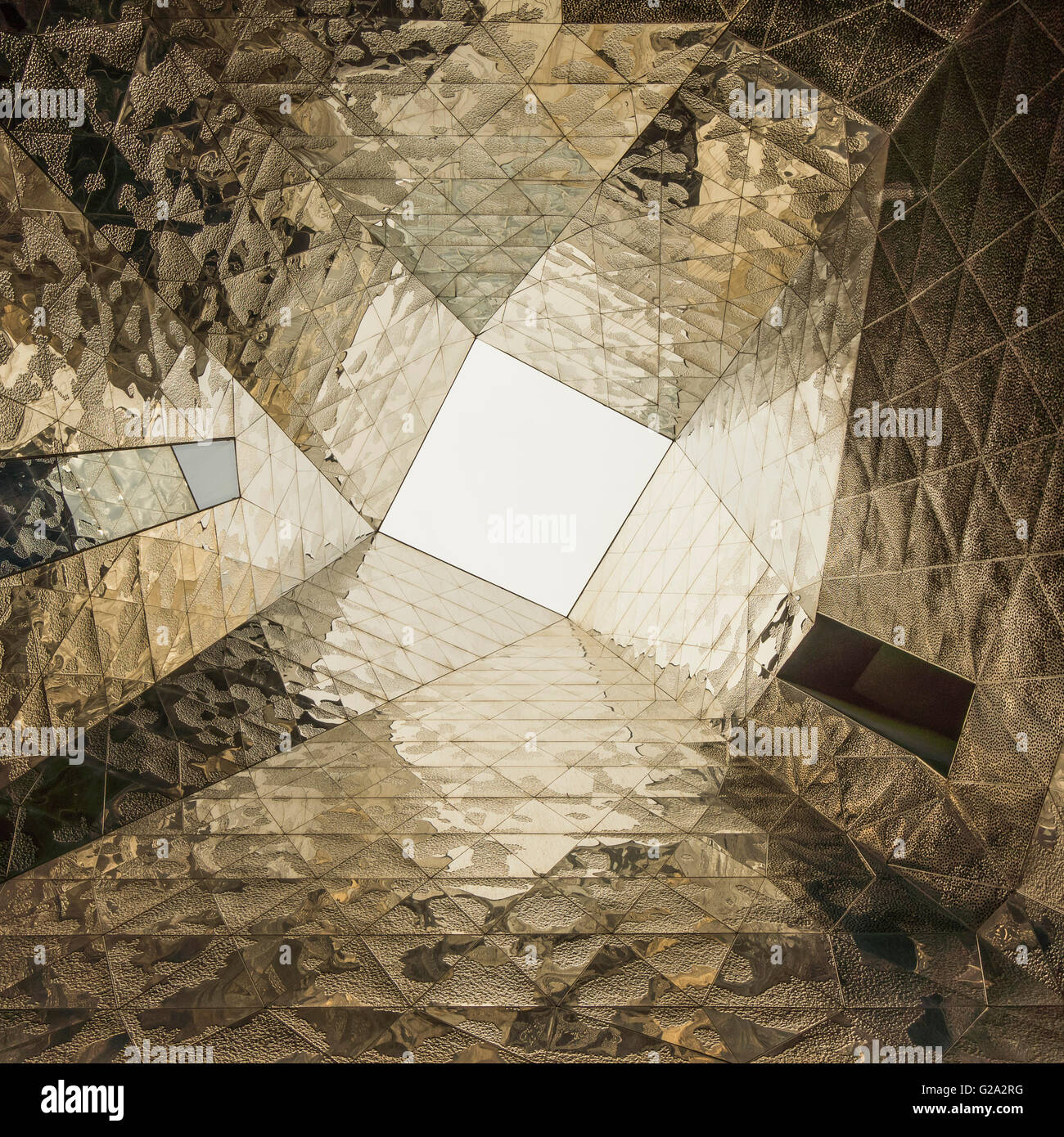 Mirror composition at Forum Building by Jacques Herzog and Pierre de Meuron. Barcelona. Catalonia. Spain. Stock Photo