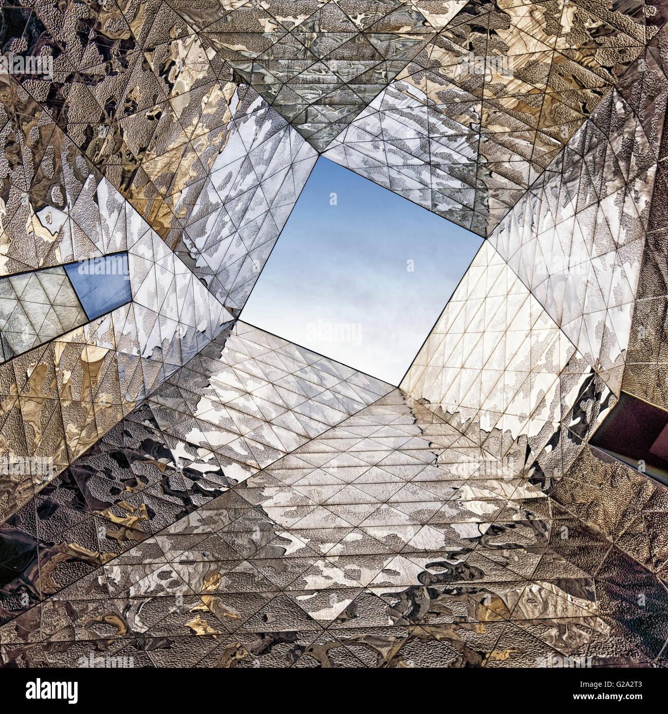 Mirror composition at Forum Building by Jacques Herzog and Pierre de Meuron. Barcelona. Catalonia. Spain. - Stock Image