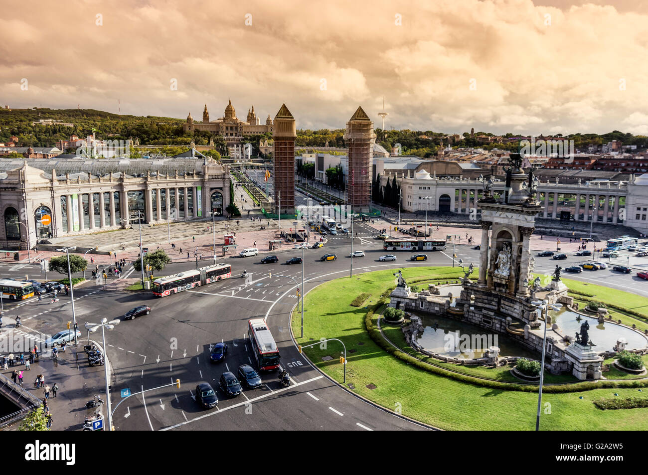 Placa Espanya in Barcelona and National Palace - Stock Image
