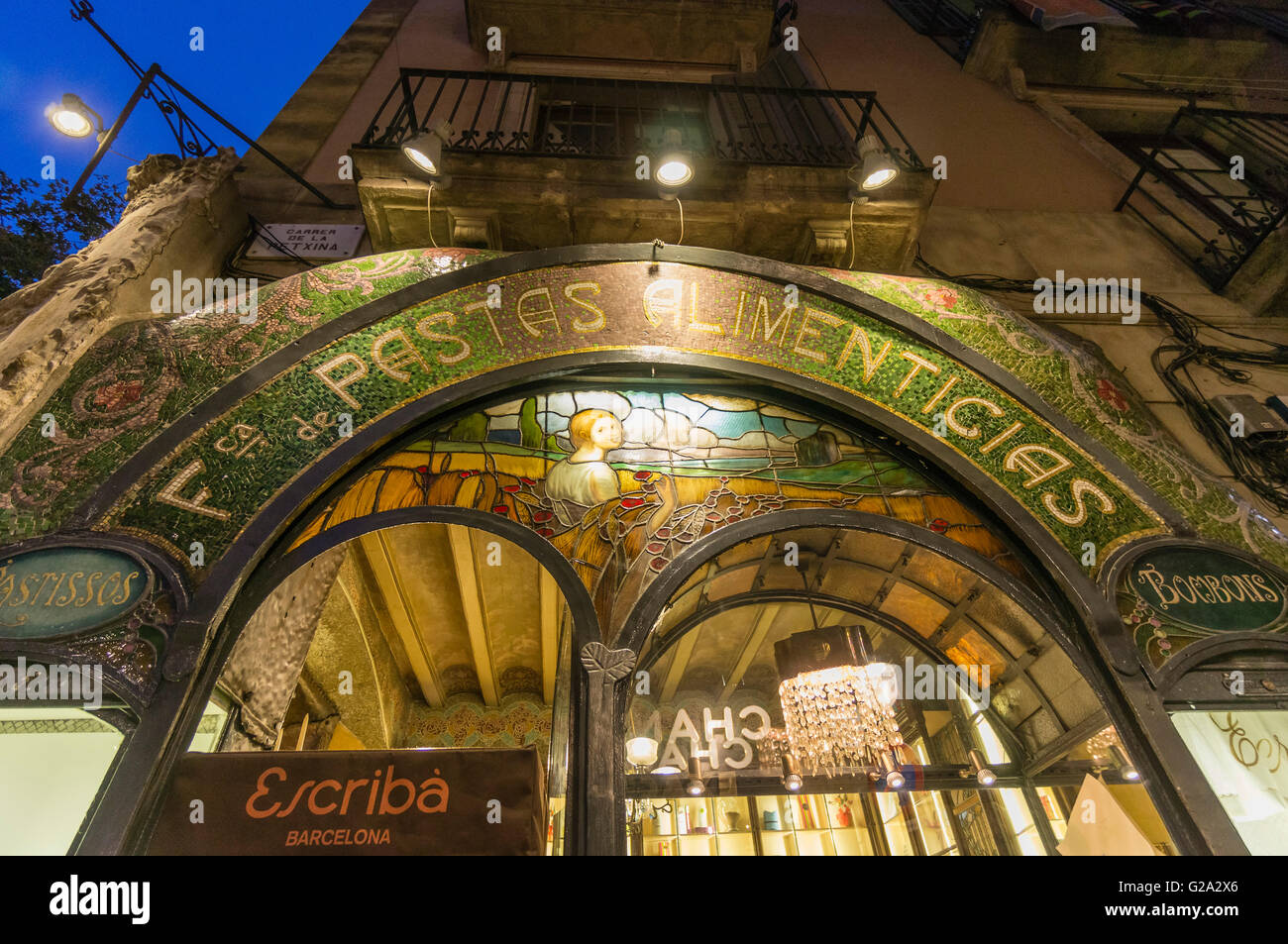 Pasteleria Escriba, Pastry Shop, Art Deco, Ramblas, Barcelona, Catalonia, Spain - Stock Image