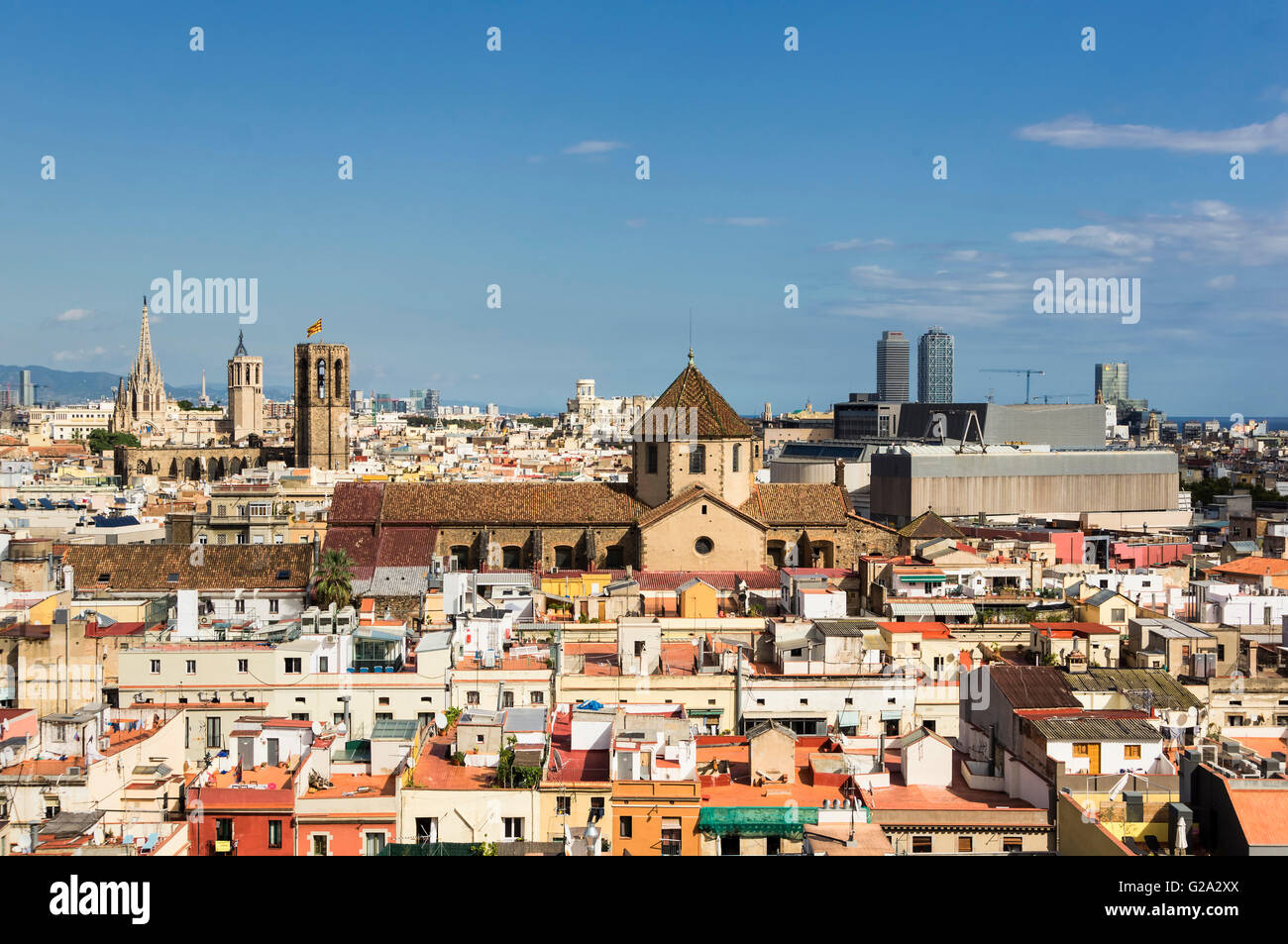Ciutat Vella, Old City Center of Barcelona, Panoramic View from Roof Top of Barcelo Raval Hotel , Barcelona - Stock Image