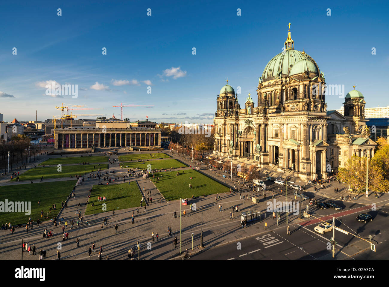 Berliner Dome Cathedral , Airial view, New Museum, Lustgarten, Berlin - Stock Image