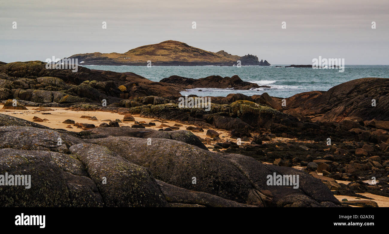 View of Cruagh island from Omey Island,  in the west of Ireland. - Stock Image