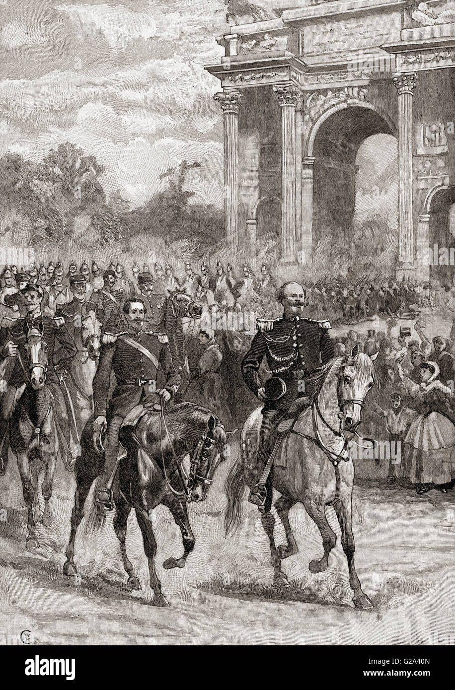 The entry of Napoleon III, right, 1808-1873 and Victor Emmanuel II, left, 1820-1878, into Milan, Italy, 8th June - Stock Image