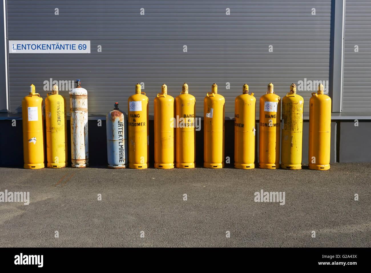 yellow gas cylinders - Stock Image