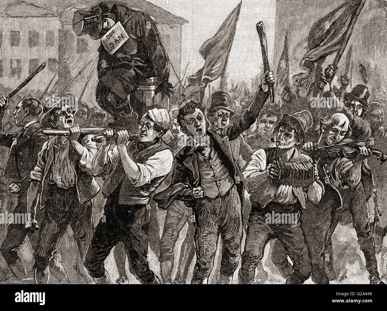 A scene from The Belfast Riots of 1886.  From The Century Edition of Cassell's History of England, published - Stock Image