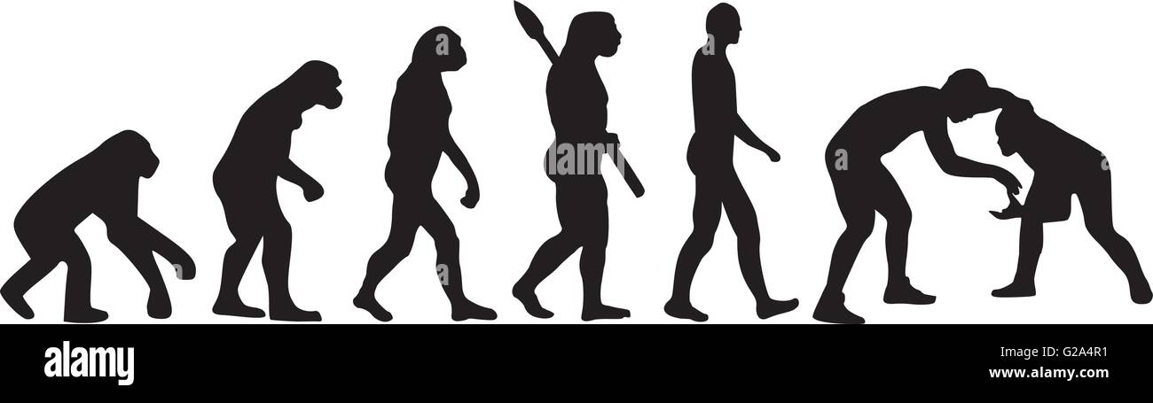 Wrestling evolution - Stock Image