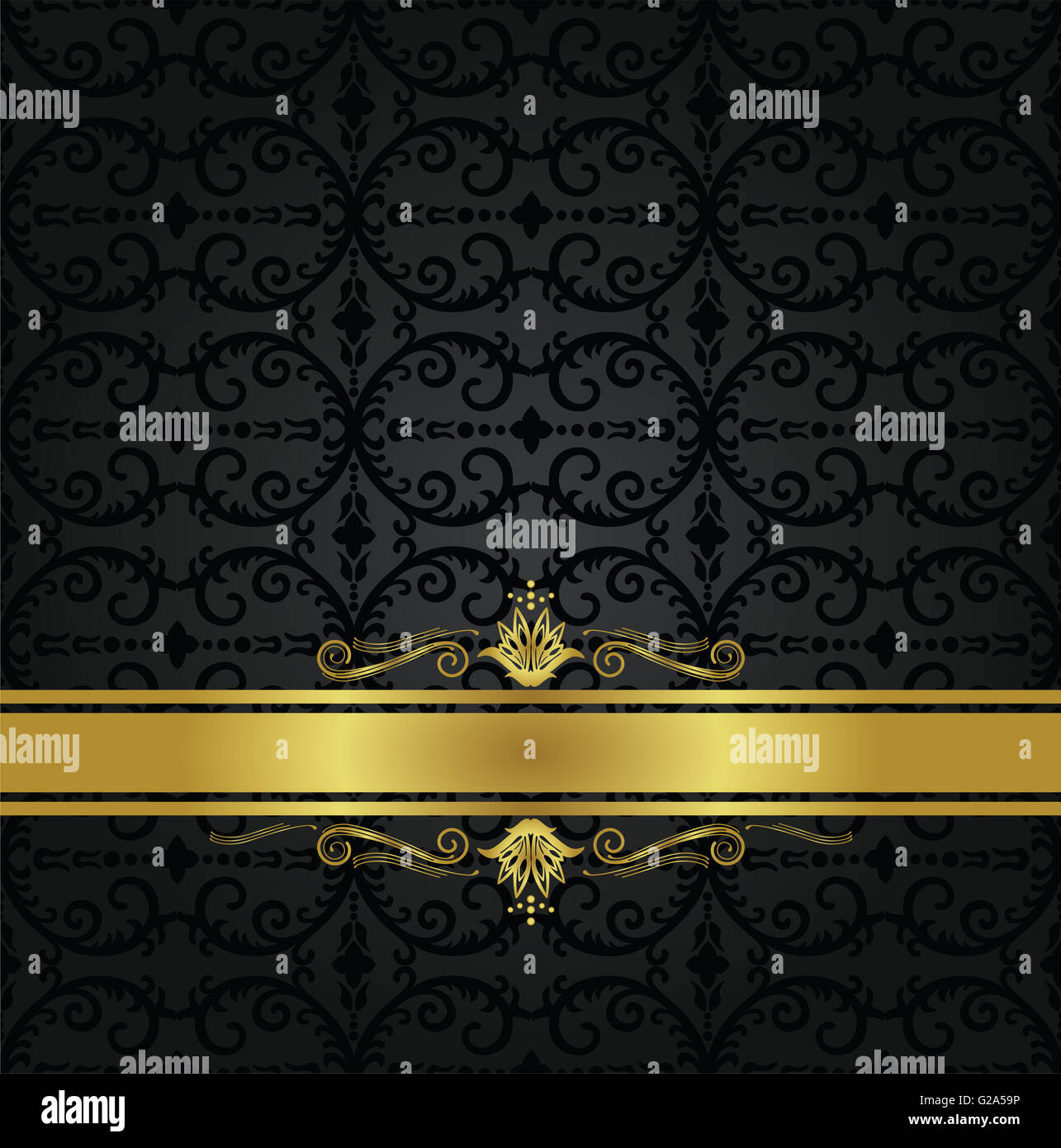 Seamless Black Floral Wallpaper Pattern And Gold Ribbon With Stock