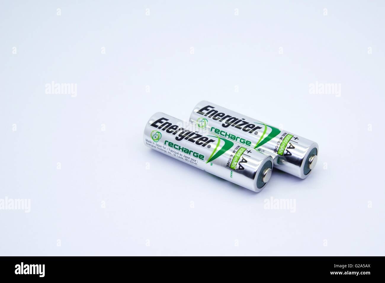 Rechargeable energizer batteries - Stock Image