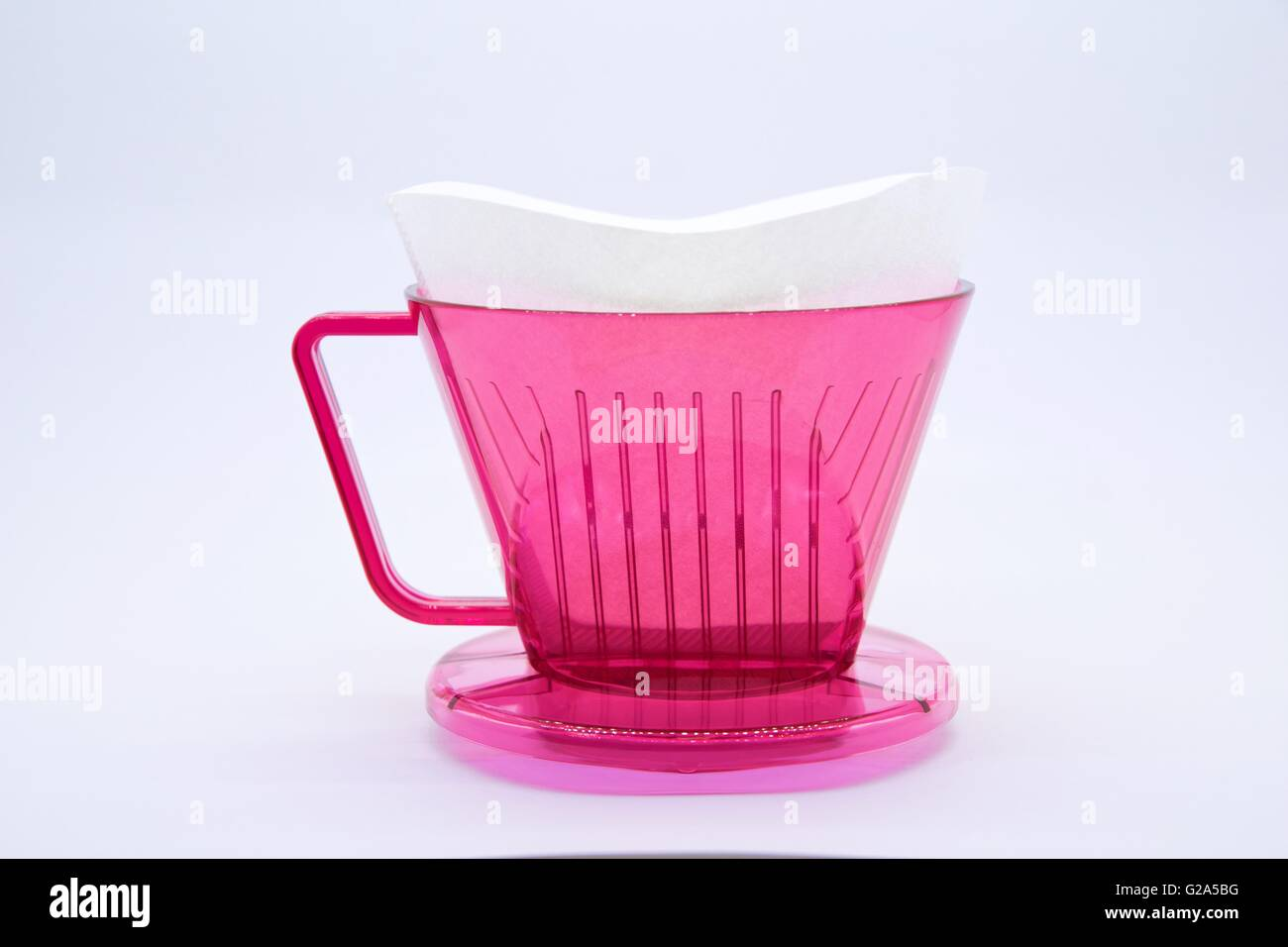Red coffee dripper - Stock Image