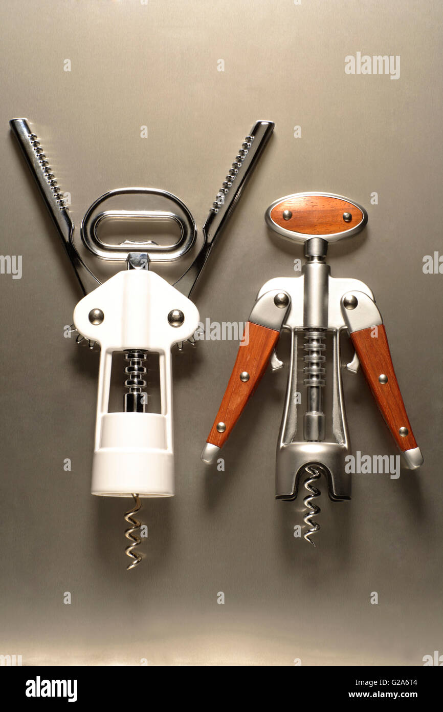 Two corkscrews, symbolic image, representing a man and a woman - Stock Image