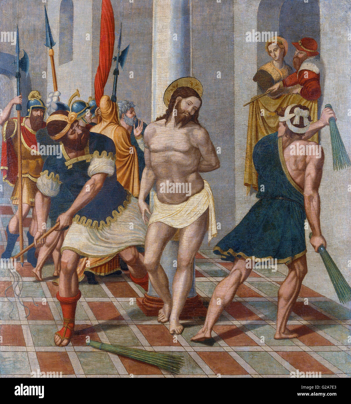 Pere Serafí - Flagellation of Christ - MNAC - Barcelona - Stock Image