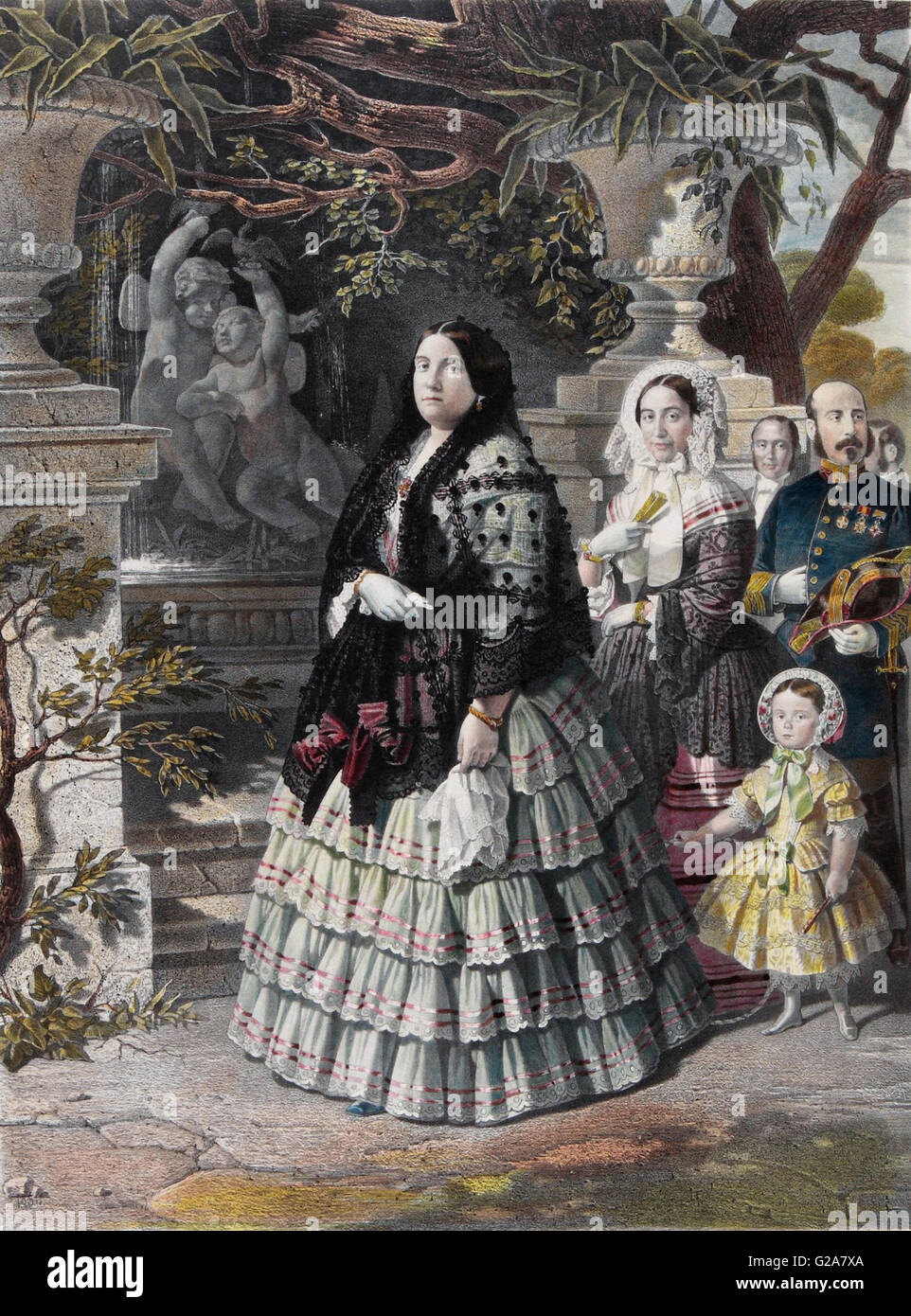 Bernardo Blanco y Pérez - HER MAJESTY THE QUEEN ISABEL II. and her august Daughter  - Museo del Romanticismo, - Stock Image