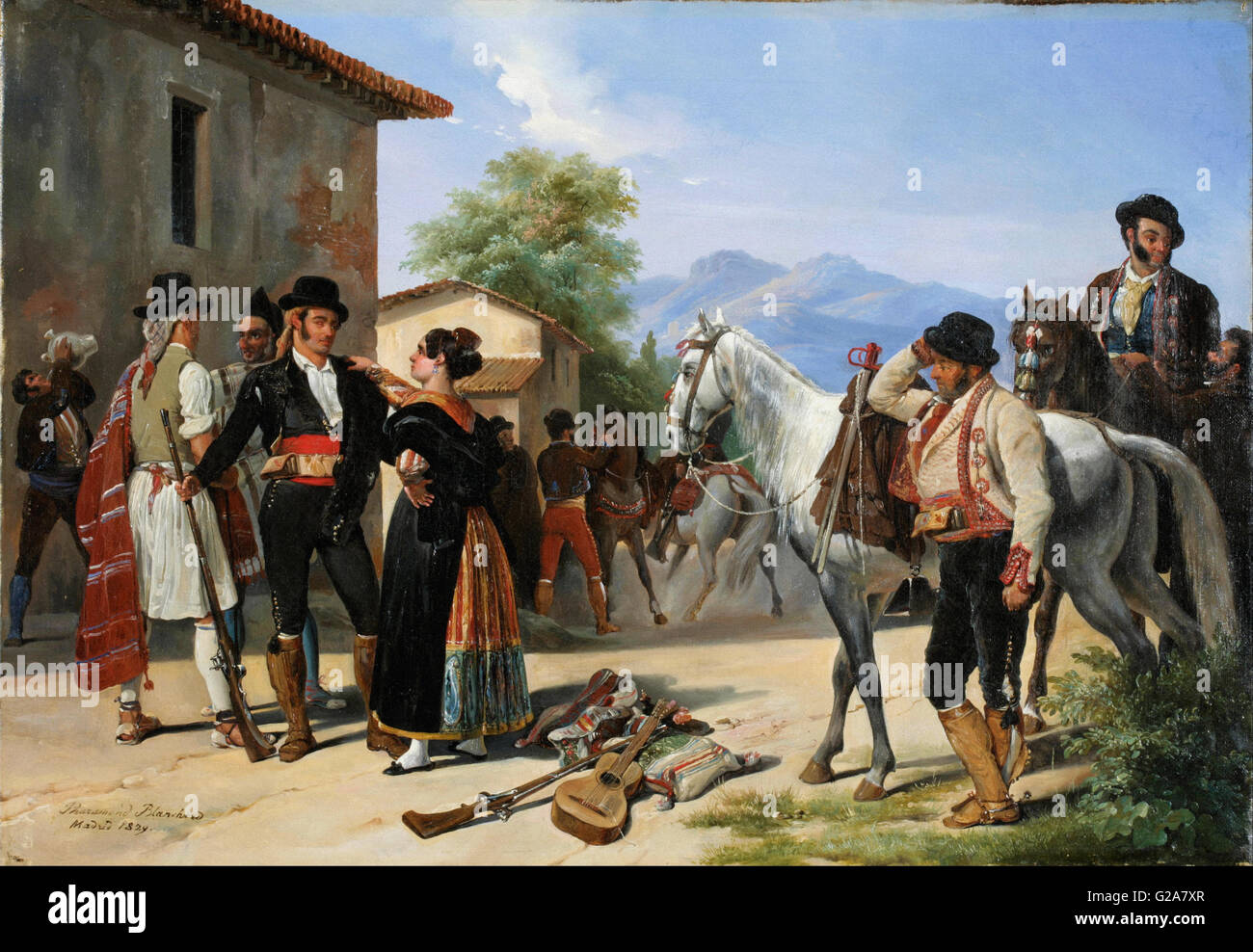 Henri Pierre Léon Pharamond Blanchard - The Smugglers - Museo del Romanticismo, Madrid Stock Photo